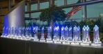 Navistar Diamond Supplier crystal statues are on display at a ceremony in Lisle, Ill., Febraury 2018.