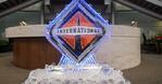 An International ice statue is on display at the Navistar Diamond Supplier Award ceremony in Lisle, Ill., February 2017.